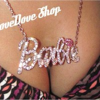 "Beautiful Silver Crystal Barbie With Pink ""I"" Necklace"