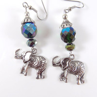 Green elephant earrings