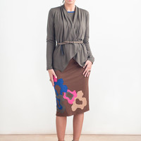 TERRE REVERSIBLE SKIRT - Brown/Camel Appliqued Wool Knit Skirt - Sample Sale - Ready To Ship - Size Small