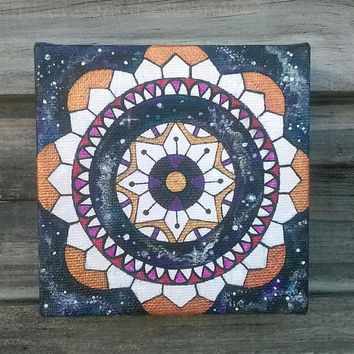 Mandala Acrylic Painting || Sacred Geometry Art || Mandala Wall Art || Galaxy Painting || Sacred Circle