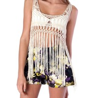 Shake It Up Fringe Crop Top - Ivory