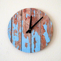 Unique Wall Clock, Cottage Chic Wall Clock, Home Decor, Decor and Housewares, Blue Wood, Home and Living, Reclaimed Decor