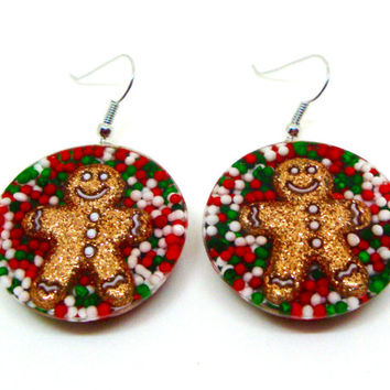 Gingerbread Man Earrings, Christmas Earrings, Holiday Jewelry, Cupcake Sprinkles Earrings, Candy Resin Jewelry, Holiday Earrings