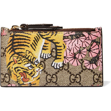 Gucci - Printed coated-canvas and textured-leather cardholder