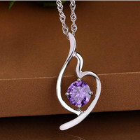 Gift Jewelry New Arrival Shiny 925 Silver Heart Pendant Stylish Women's Accessory Necklace [8080534151]