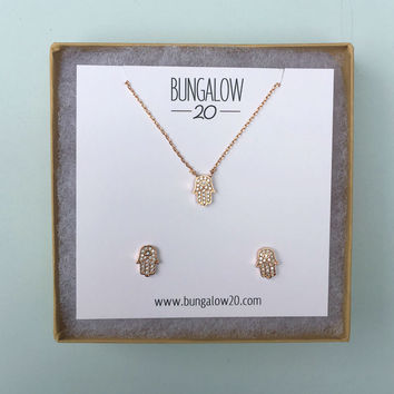 Rose Gold Hamsa Necklace and Earring Set