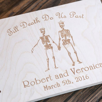 Custom Guest Book, Wedding Guest Book, Skull Wedding, Wedding Date and names, Skull, Skeleton