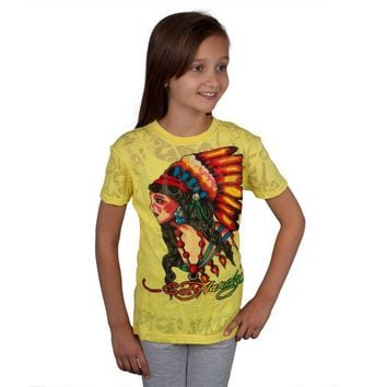 LMFON Ed Hardy - Native American Girls Youth Burnout T-Shirt
