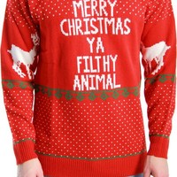 Ugly Christmas Sweater Home Alone Merry Christmas Ya Filthy Animal Adult Green Sweater (Adult Medium)