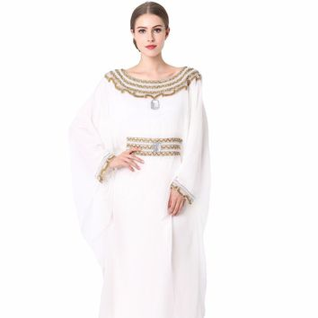 women Embroidery long sleeve muslim arabic dress turkish gown Dubai moroccan Kaftan Islamic Abaya muslim clothing jalabiya LF-16