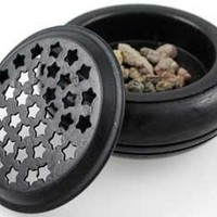 "Incense Burners- Black Wood and Metal - 3 1/2"" Diameter"