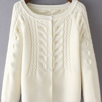 White Raglan Sleeve Buttoned Cardigan