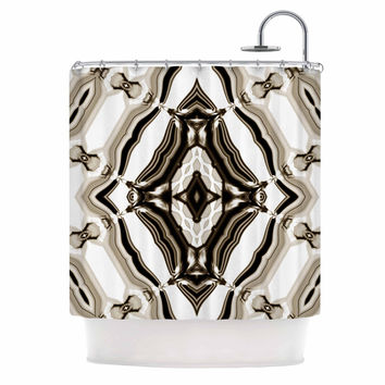 """Dawid Roc """"Inspired By Psychedelic Art 6"""" Brown Pattern Shower Curtain"""