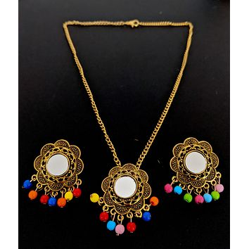Afghani design - Antique gold finish mirror pasted multicolor bead hanging pendant chain necklace and earring set - Flower design