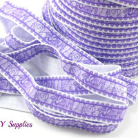 5/8 Purple lace look fold over elastic, Elastic by the yard, printed FOE - Elastic for headbands and hair ties