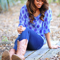 Dot Your Average Blouse: Blue | Hope's