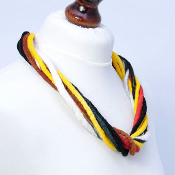 Black, red and yellow, twist, felt, rope, wool necklace [N33]