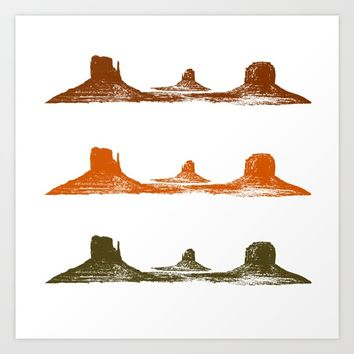 Monument Valley, 3 mountains, 3 colors Art Print by Claude Gariepy