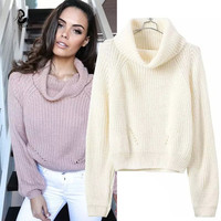 Turtleneck Pullover Pure color Women Sweater   Fashion Loose Knitted Sweater High Quality 2016 Women Tops