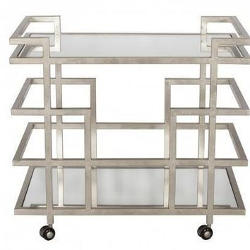 World's Away | Ireland Bar Cart-Silver