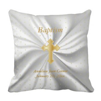 Baptism on White Satin and Tiny Cross Pattern Pillow