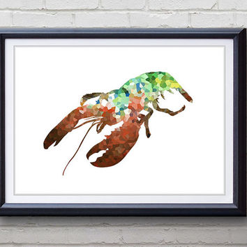 Green Lobster Ocean Animal Print - Home Living - Lobster Painting - Lobster Wall Art - Wall Decor - Home Decor, House Warming Gifts