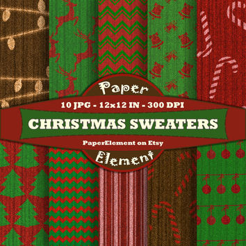 Christmas Sweater Digital Paper Pack - Red and Green Knit Fabric - Christmas Digital Scrapbook Paper with Reindeer, Trees, Chevron, Candy