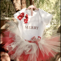 "Tutu Set Red and White For Little Girls "" Very Merry"" Christmas Photo Outfit For Baby Girls and Toddler Girls"