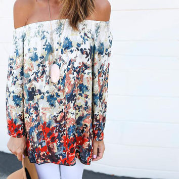 Long Sleeve Elastic Off-Shoulder Printed Top
