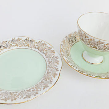 Vintage China Trio Set, Mint Green China Tea Cup, Saucer and Plate, English China trios, afternoon tea, gift for mum, china set