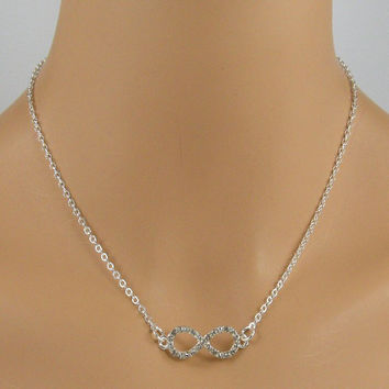 Rhinestone Infinity Sterling Silver Chain Necklace, Infinity Necklace