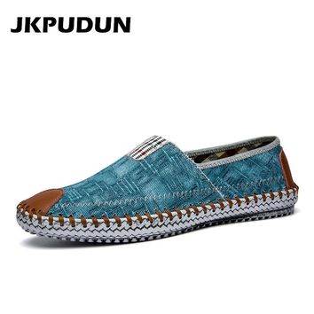 JKPUDUN Summer Canvas Shoes Men Fisherman Luxury Brand Designer Espadrilles Flats Breathable Mens Denim Shoes Casual Plimsolls
