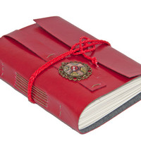 Red Faux Leather Journal with Steampunk Bookmark