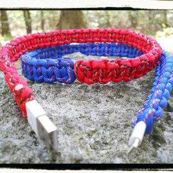 iPhone 5 Paracord Wrapped Charger (red/blue)