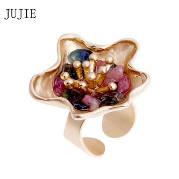 JUJIE Flower Rings For Women 2017 Vintage Fashion Wedding Multicolor Nature Stone Ring Men Gold Color Rings For Mann