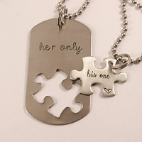 """His One"" &  ""Her Only"" puzzle piece set"