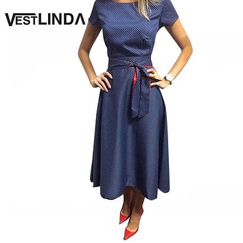 VESTLINDA Polka Dot Rockabilly Vintage Retro Dress Women Summer Audrey Hepburn Dress With Belt Casual Ball Gown Midi Tunic Dress