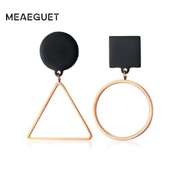 Meaeguet 50% off Geometric Stud Earrings for Women Black & Rose Gold Color Stainless Steel Asymmetric Unique Jewelry