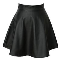 2013 new Fashion Summer autumn Korean fashion tutu skirts, high waist pleated PU leather skirt, punk bust PU women skirt (Size: M) = 1946589508