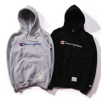 Champion title logo three-dimensional embroidery sweethearts outfit fleece and wool thickening hooded fleece Black Grey