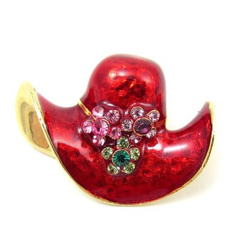 Red Enamel Red Hat Pin Gold Tone Brooch Red Hat Society Vintage Jewelry Rhinestone Accent Shawl Scarf Pin Womens Club Jewelry Mothers Day