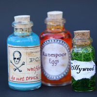 Harry Potter Potions- Set of Three - Wolfsbane - Runespoor Eggs and Gillyweed - from Slug and Jiggers