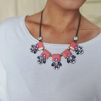 Jeweled Cluster Necklace- Coral