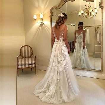 Sexy Wedding Dresses Long V Neck Party Gowns Back Deep
