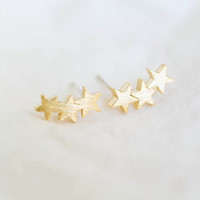 2016 New Fashion Jewelry Three Star Men Teens Stud Earrings for women Cute Star Earrings Gifts S027