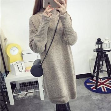 Korean Women Sweater Dress Winter Christmas Long Knitted Sweaters Warm High Collar Sweater Pullovers Burderry Jumper