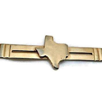 Vintage TEXAS Tie Clip 60's ANSON Texas Tie Clip State of Texas Tie Bar Mens Texas Wedding Jewelry Rustic Map of Texas Tie Bar Gift for Him