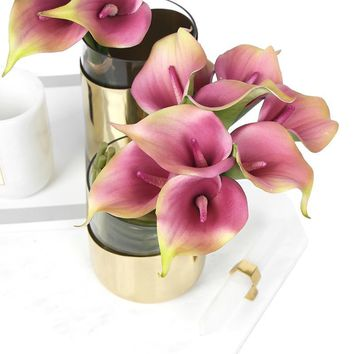 """Real Touch 9 Calla Lily Bouquet in Pink 13"""" Tall"""