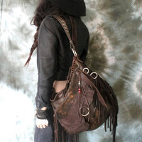 Dark brown distressed leather bag fringe rocker bohemian chestnut brown studded strap metalhead unique sweetsmokebags tribal southwestern 70