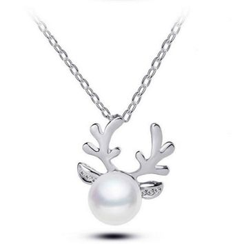 Christmas  · Antlers Pearl Unique Necklace